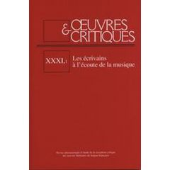 Oeuvres & Critiques XXXI, 1 (2006)