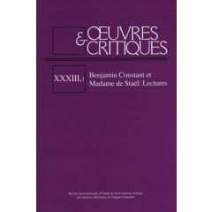 Oeuvres & Critiques XXXIII, 1 (2008)